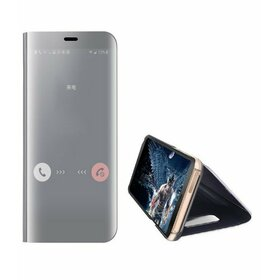 Husa Flip Mirror pentru Galaxy A8 (2018) Silver