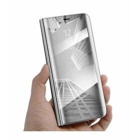 Husa Flip Mirror pentru Galaxy A8+ (2018) Silver