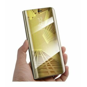 Husa Flip Mirror pentru Galaxy A8+ (2018) Gold