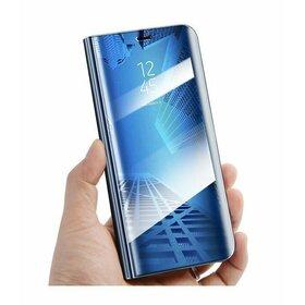 Husa Flip Mirror pentru Galaxy A8+ (2018) Blue