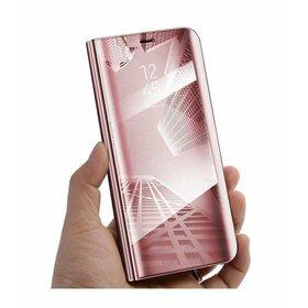 Husa Flip Mirror pentru Galaxy A8+ (2018) Rose Gold