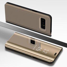 Husa Flip Mirror pentru Galaxy Note 8 Gold