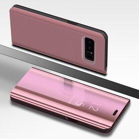 Husa Flip Mirror pentru Galaxy Note 8 Rose Gold