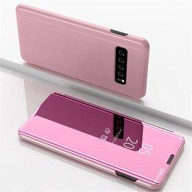 Husa Flip Mirror pentru Galaxy S10 Plus Rose Gold