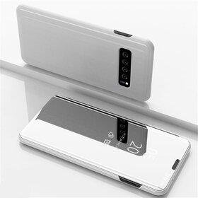 Husa Flip Mirror pentru Galaxy S10 Plus Silver