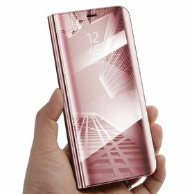 Husa Flip Mirror pentru Galaxy S7 Edge Rose Gold