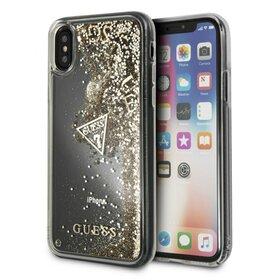 Husa Guess cu Glitter Hearts Transparenta pentru iPhone X/ iPhone XS Gold