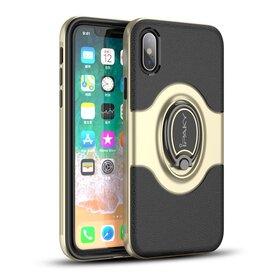 Husa Ipaky Hybrid cu inel si magnet pentru iPhone X/ iPhone XS Gold