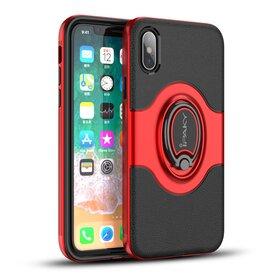 Husa Ipaky Hybrid cu inel si magnet pentru iPhone X/ iPhone XS Red