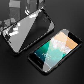 Husa iPhone SE 2 (2020) / iPhone 7/ iPhone 8 model 360 Magnetica cu Sticla fata + spate Black