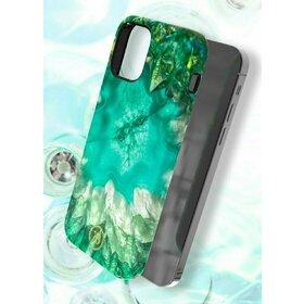 Husa Kingxbar Agat Decorated Series pentru iPhone 12 Pro / iPhone 12 Green