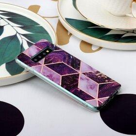 Husa marmura cu aplicatii geometrice pentru Galaxy Note 10 Plus Pink
