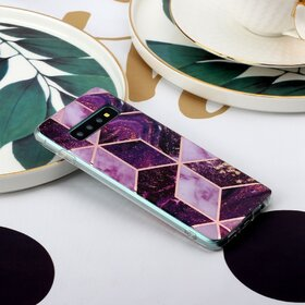 Husa marmura cu aplicatii geometrice pentru Galaxy S10 Plus Pink