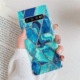 Husa marmura cu aplicatii geometrice pentru Galaxy S10 Plus Blue