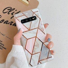 Husa marmura cu aplicatii geometrice pentru Galaxy S9 Rose Gold