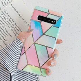Husa marmura cu aplicatii geometrice pentru Galaxy S9 Rainbow