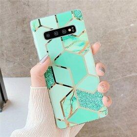 Husa marmura cu aplicatii geometrice pentru Galaxy S9 Plus Green Mint