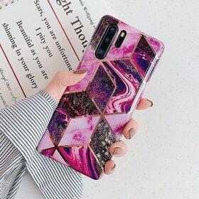 Husa marmura cu aplicatii geometrice pentru Huawei Mate 20 Lite Pink