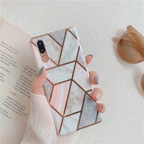 Husa marmura cu aplicatii geometrice pentru Huawei Mate 20 Lite Rose Gold