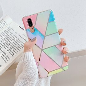 Husa marmura cu aplicatii geometrice pentru Huawei P30 Lite Rainbow