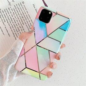 Husa marmura cu aplicatii geometrice pentru iPhone 11 Rainbow