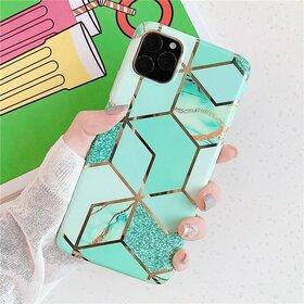 Husa marmura cu aplicatii geometrice pentru iPhone 11 Pro Green Mint