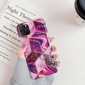 Husa marmura cu aplicatii geometrice pentru iPhone 11 Pro Pink