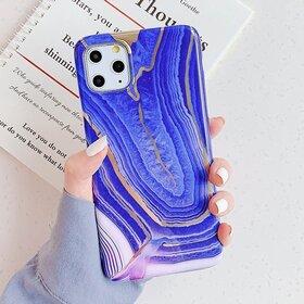 Husa marmura cu aplicatii geometrice pentru iPhone 11 Pro Purple