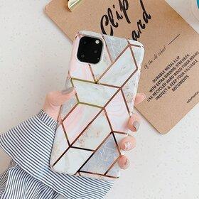 Husa marmura cu aplicatii geometrice pentru iPhone 11 Pro Max Rose Gold