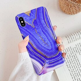 Husa marmura cu aplicatii geometrice pentru iPhone 7 Plus/ iPhone 8 Plus Purple