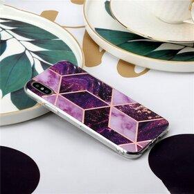 Husa marmura cu aplicatii geometrice pentru iPhone 7 Plus/ iPhone 8 Plus Pink