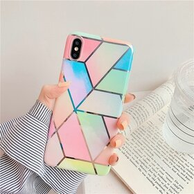 Husa marmura cu aplicatii geometrice pentru iPhone X/ XS Rainbow