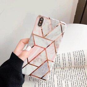 Husa marmura cu aplicatii geometrice pentru iPhone XR Rose Gold
