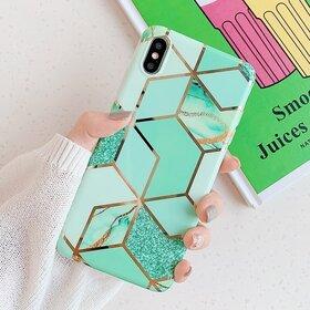 Husa marmura cu aplicatii geometrice pentru iPhone XR Green Mint