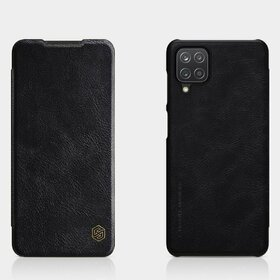 Husa Nillkin Qin tip Flip Cover din piele ecologica pentru Galaxy A12 Black