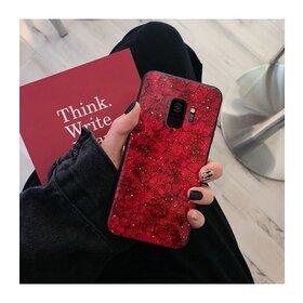 Husa protectie cu model marble pentru Galaxy A7 (2018) Red