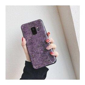 Husa protectie cu model marble pentru Galaxy A8 (2018) Purple