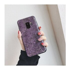 Husa protectie cu model marble pentru Galaxy S9 Purple
