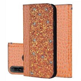 Husa tip carte cu sclipici si piele pentru Huawei P30 Lite Orange