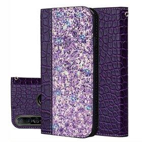 Husa tip carte cu sclipici si piele pentru Huawei P30 Lite Purple