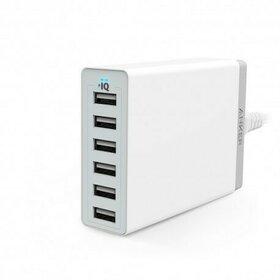 Incarcator de retea Anker 60W 6 porturi USB PowerIQ Alb