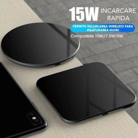 Incarcator wireless fast charge 15W Patrat