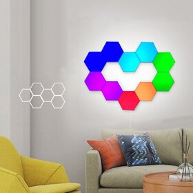 Lampa modulara hexagon colorata cu aprindere prin atingere