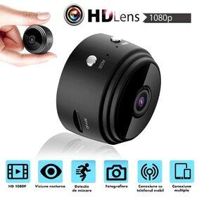 Mini cameră de supraveghere Wifi 1080P, viziune nocturnă inteligentă, urmărire automată și alarmă declansabila perfectă pentru interior și exterior