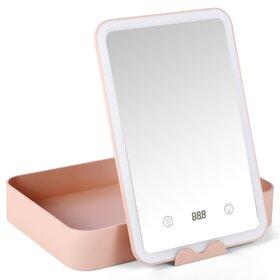 Oglinda cu iluminare LED si cutie de depozitare Pink