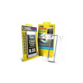 Set bumper aluminiu iPhone 6 Plus silver Hoda Taiwan + folie sticla fata 0.33 + folie spate