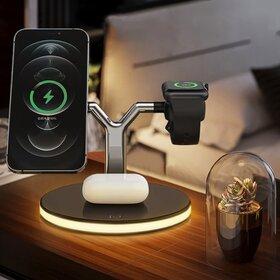 Stand de Incarcare Wireless pentru 3 dispozitive cu Suport Magnetic