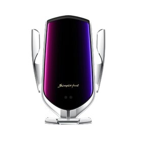 Suport auto cu incarcator wireless si senzor inteligent, USB, functie Fast Charge Silver
