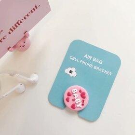 Suport stand adeziv pentru telefon model desen animat cu text Baby si inimioare