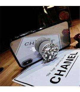 Suport stand adeziv pentru telefon model floare din pietre albe stralucitoare